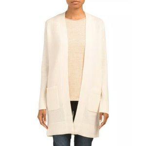 Theory 100% cashmere ivory duster sweater cardigan